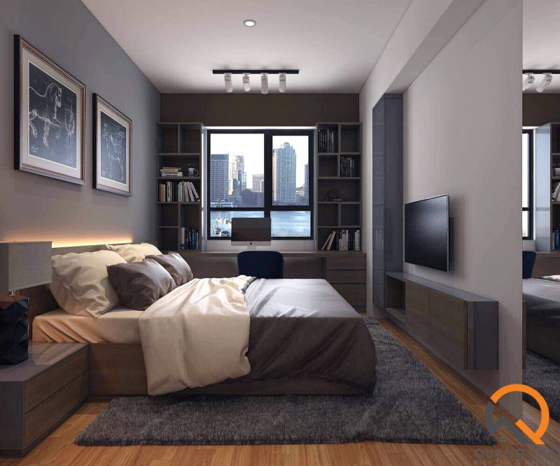 Nội thất phòng ngủ với gam màu trung tính.