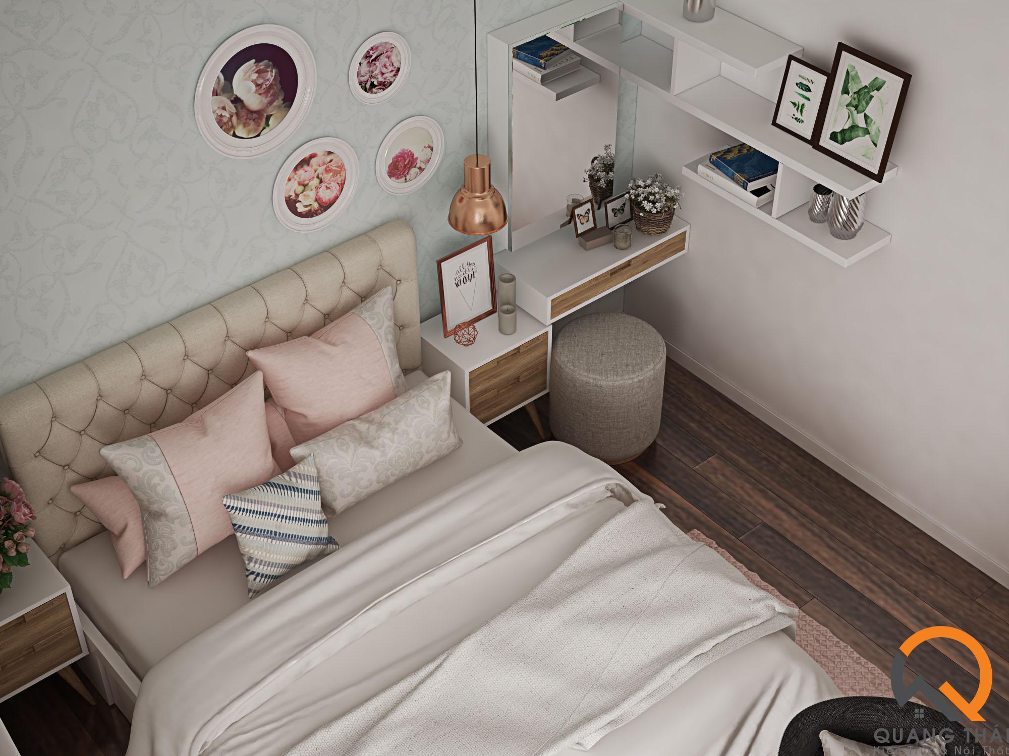 Nội thất phòng ngủ hiện đại, sang trọng, với tông màu trắng nhẹ nhàng thuần khiết.