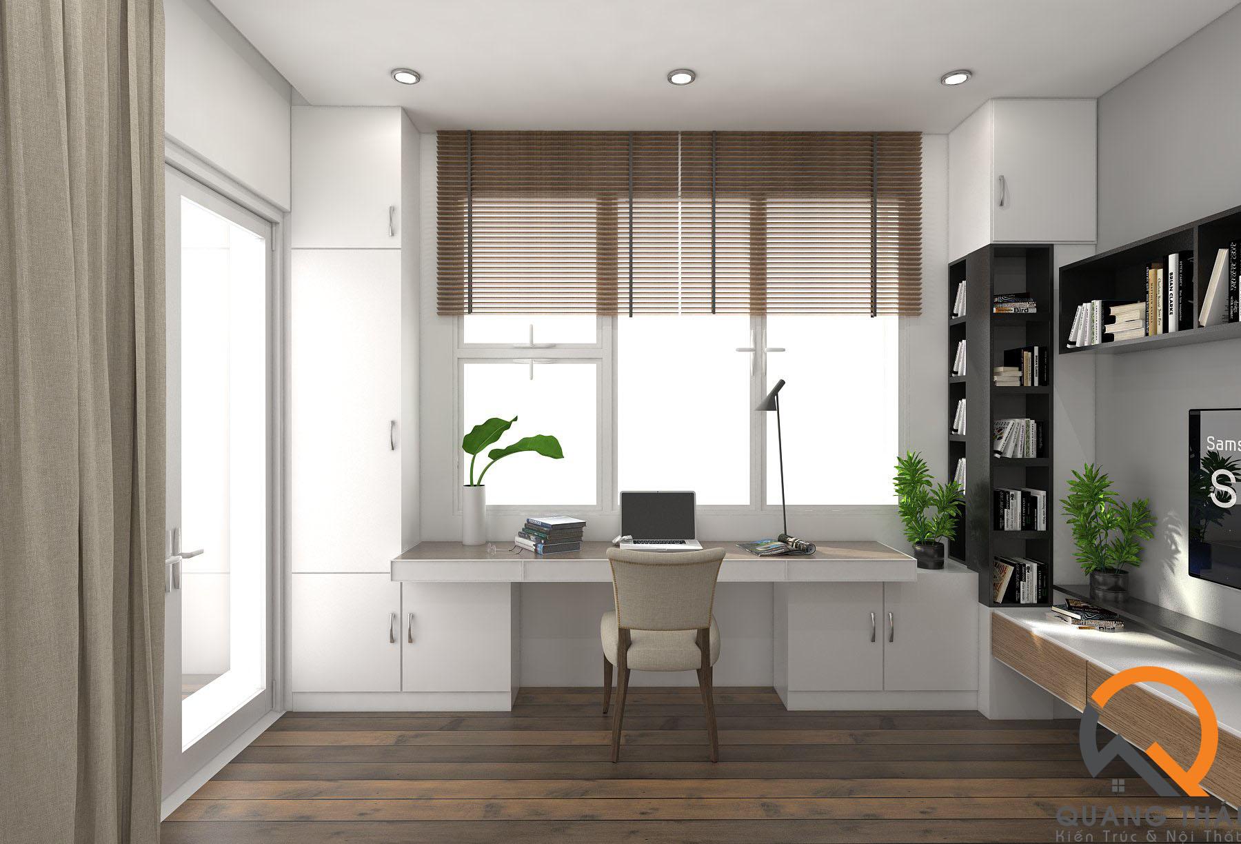 Nội thất phòng đọc sách hiện đại, sang trọng, với tông màu trắng nhẹ nhàng thuần khiết.