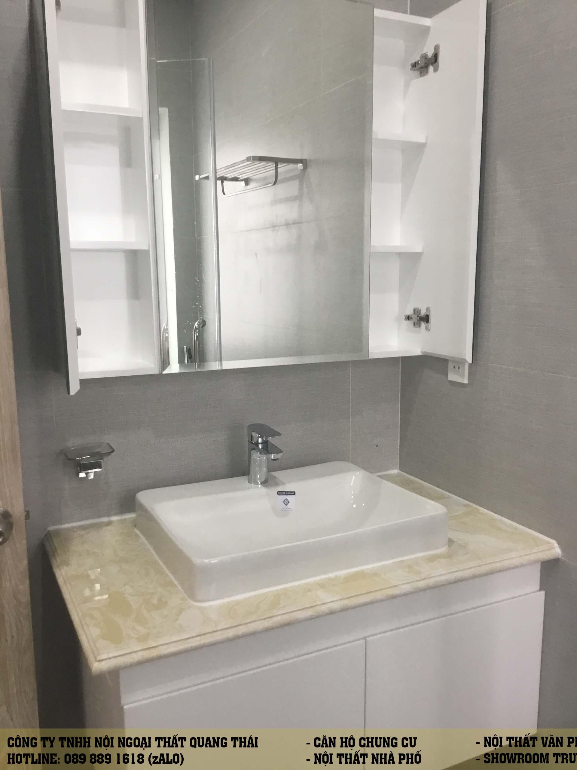 Hình hoàn thiện nội thất với gam màu trắng tinh khiết.
