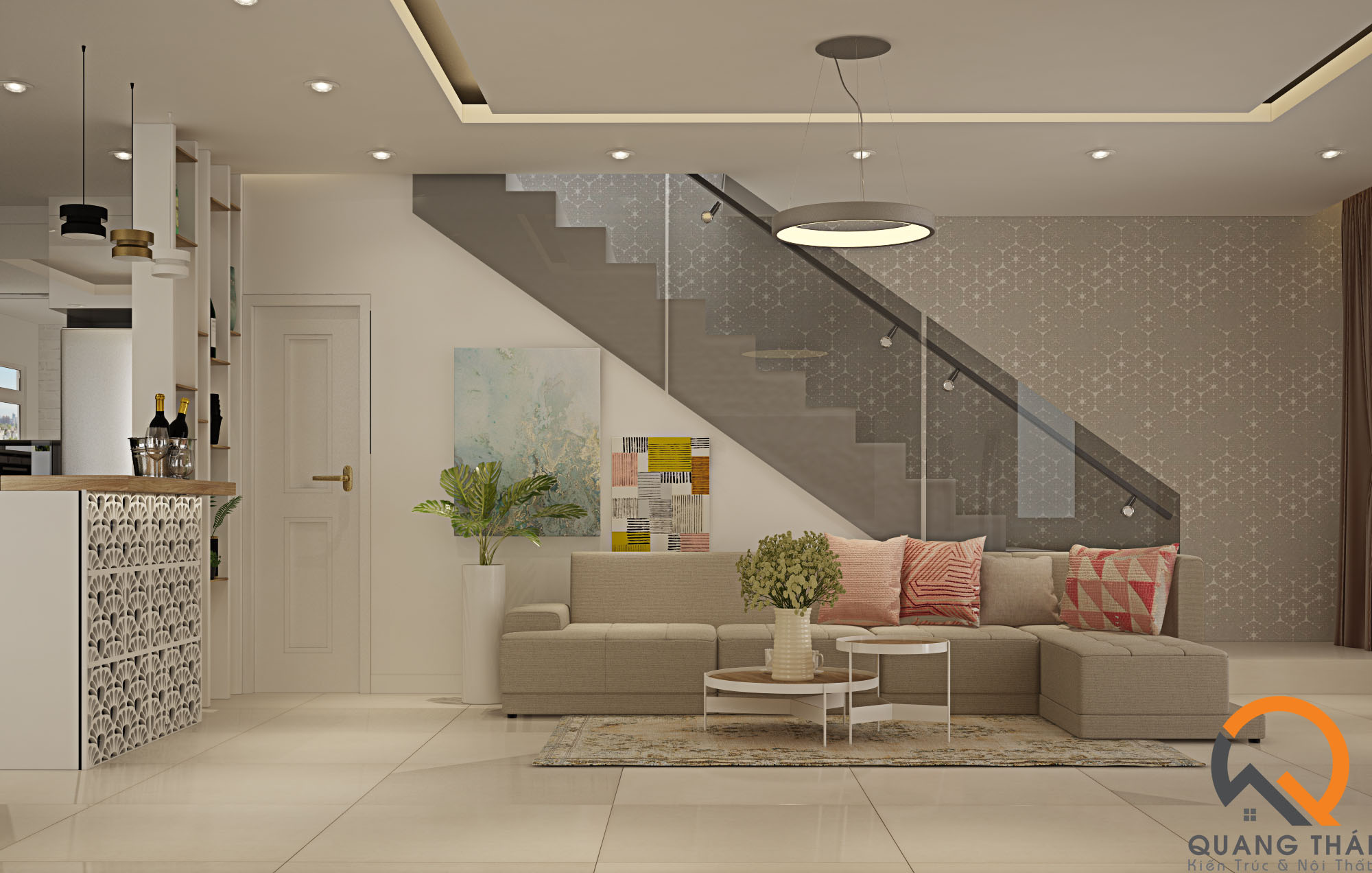 Nội thất phòng khách tầng trệt với tông trắng thuần khiết, tinh tế.